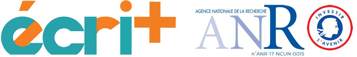 Logo du projet écri+ et celui de l'ANR
